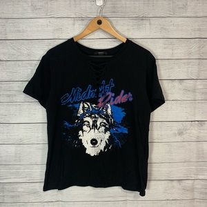 Forever 21 Midnight Rider Wolf Lace Up Tee M